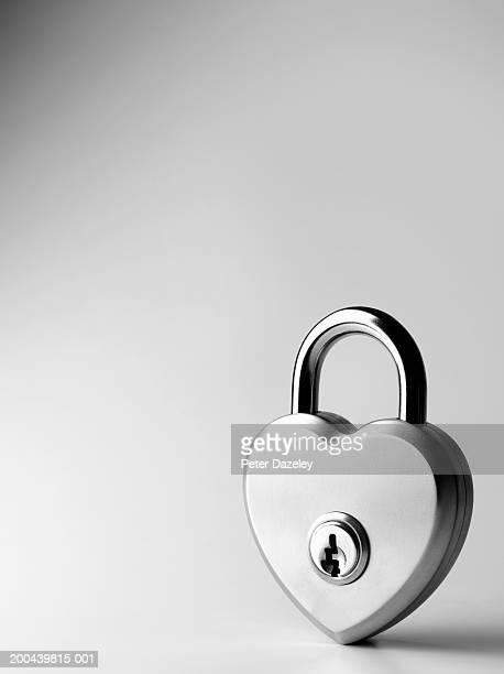 heart-shaped padlock, close-up - forbidden stock pictures, royalty-free photos & images