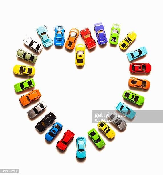 Heart-shaped pattern of toy cars