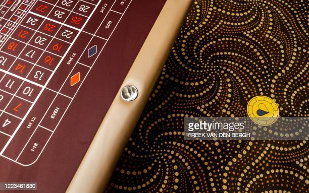 A heartshaped social distancing marker indicates where a player can take a place at the table in the Holland Casino on June 29 in Scheveningen The...