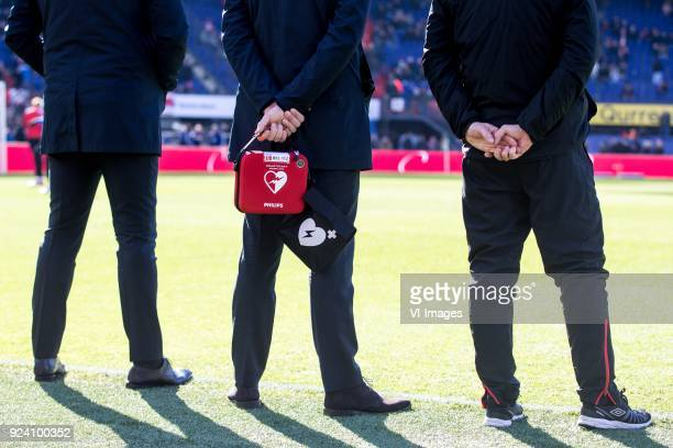 AED heartstart defibrillator during the Dutch Eredivisie match between Feyenoord Rotterdam and PSV Eindhoven at the Kuip on February 25 2018 in...