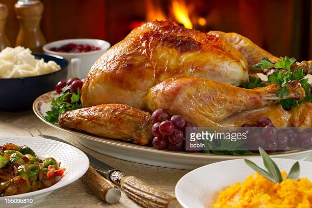 Hearty and cozy turkey dinner with fireplace in background