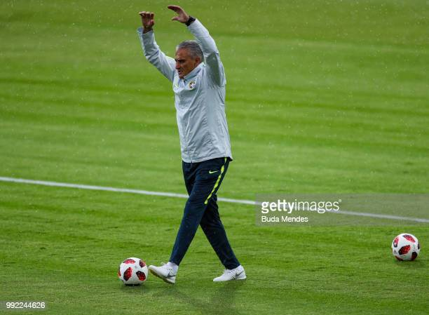 Heat coach Tite in action during a Brazil training session ahead of the the 2018 FIFA World Cup Russia Quarter Final match between Brazil and Belgium...