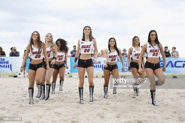 Heat Dancers perform at the 1st Annual Celebrity Beach Soccer Presented By GACP Sports Sports Illustrated at W South Beach on November 17 2018 in...