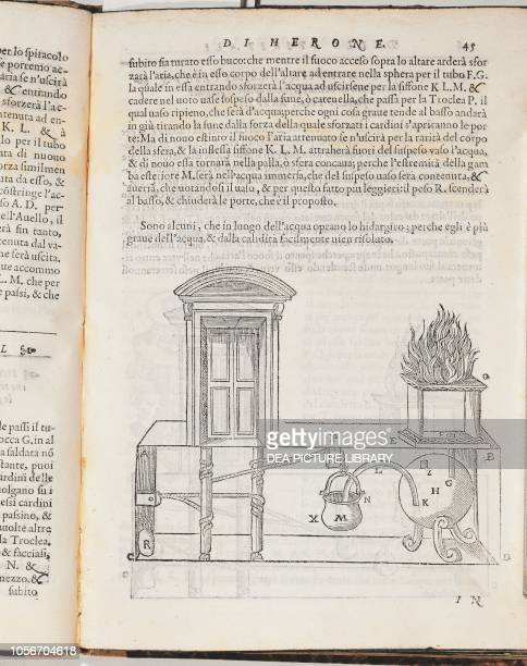 Heat engine, engraving from Gli artifitiosi et curiosi moti spiritali di Herone, translation by Giovanni Battista Aleotti of Hero of Alexandria's...