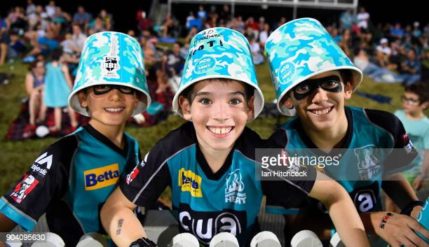 Heat fans show their support during the the Women's Big Bash League match between the Brisbane Heat and the Melbourne Stars at Harrup Park on January...