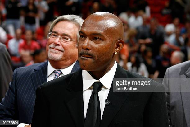 Heat Legend Tim Hardaway participates in the Tim Hardaway Jersey Retirement Ceremony on October 28 2009 at American Airlines Arena in Miami Florida...