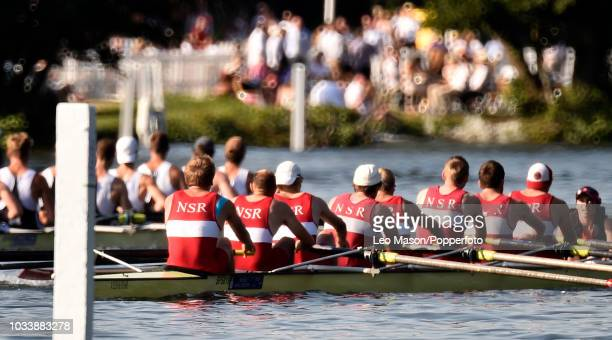A heat of the Mens Eights racing during the Henley Royal Regatta on the River Thames on July 6 2018 in Henley England