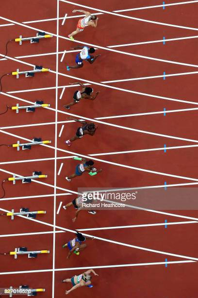 Heat two of the Women's 100 Metres semi finals starts during day three of the 16th IAAF World Athletics Championships London 2017 at The London...