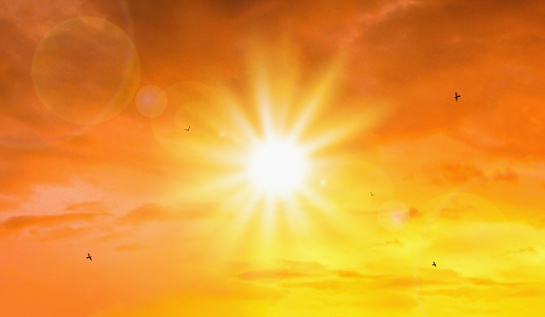 Heat wave of extreme sun and sky background. Hot weather with global warming concept. Temperature of Summer season. 1150050227
