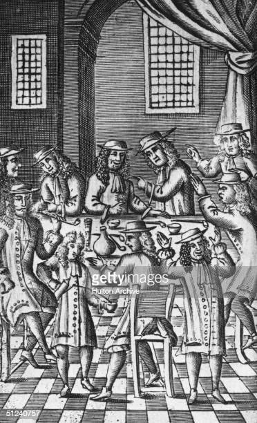 1688 Heated debate in a coffee house on Bride Lane Fleet Street in London