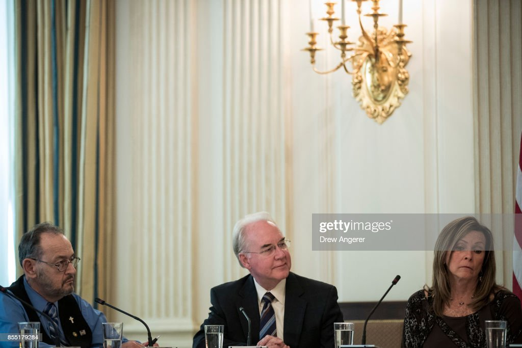 U.S. Heath and Human Services Secretary Tom Price attends a listening session regarding the opioid crisis hosted by First Lady Melanie Trump in the State Dining Room of the White House, September 28, 2017 in Washington, DC. President Donald Trump was critical of Price's use of private chartered jets for official travel and said that he was 'not happy' with Price.