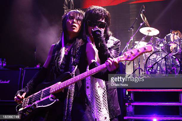 Heath and Toshi of X Japan perform at Shepherds Bush Empire on June 28 2011 in London England