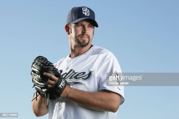 Heath Bell of the San Diego Padres poses during photo day at Peoria Stadium on February 24 2009 in Peoria Arizona