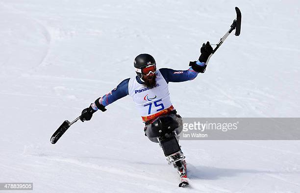 Heath Calhoun of the United States reacts in the Men's Giant Slalom Sitting during day eight of the Sochi 2014 Paralympic Winter Games at Rosa Khutor...