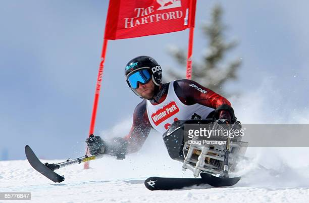 Heath Calhoun skis the Super G as he turned in the fasted time in that portion of the Men's Sitting Skier Super Combined at the 2009 US Adaptive...