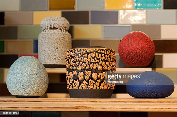 Heath Ceramics are displayed at the company store at the Ferry Building in San Francisco California US on Saturday Feb 5 2011 Robin Petravic and his...