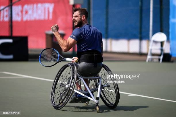 Aniek van Koot of The Netherlands plays a forehand during her semi final match against Yui Kamiji of Japan on day four of The British Open Wheelchair...