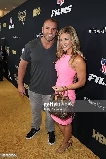 Heath Evans and Cynthia Frelund attend the premiere of HBO and NFL Films Hard Knocks Training Camp with The Los Angeles Rams at Regal LA Live Stadium...