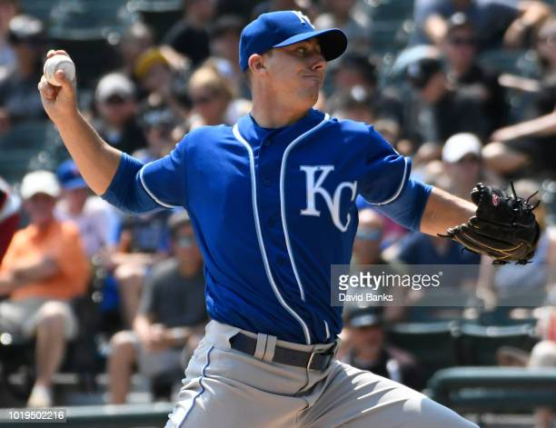 Heath Fillmyer of the Kansas City Royals pitches against the Chicago White Sox during the first inning on August 19 2018 at Guaranteed Rate Field in...