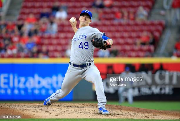 Heath Fillmyer of the Kansas City Royals throws a pitch against the Cincinnati Reds at Great American Ball Park on September 26 2018 in Cincinnati...