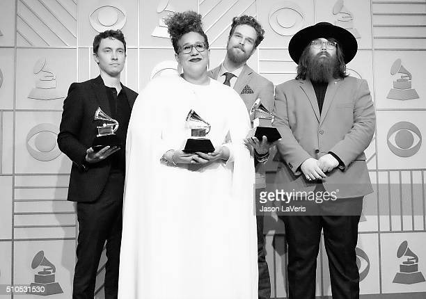 Heath Fogg, Brittany Howard, Steve Johnson and Zac Cockrell of the band Alabama Shakes pose in the press room at the The 58th GRAMMY Awards at...
