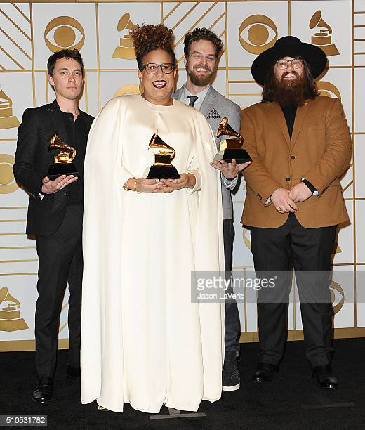 Heath Fogg Brittany Howard Steve Johnson and Zac Cockrell of the band Alabama Shakes pose in the press room at the The 58th GRAMMY Awards at Staples...
