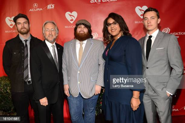Heath Fogg NARAS President Neil Portnow Zac Cockrell Brittany Howard and Steve Johnson of the Alabama Shakes arrive at MusiCares Person Of The Year...