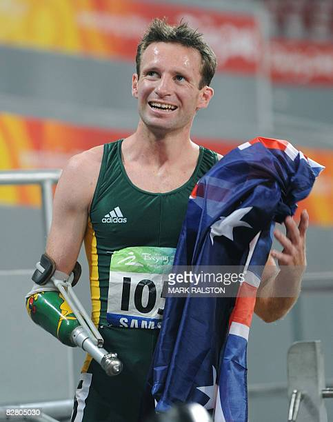 Heath Francis of Australia celebrates after winning the men's 400 metre T46 classification event at the 2008 Beijing Paralympic Games in Beijing on...