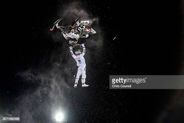 Heath Frisby races during the snowmobile freestyle final at the Winter X Games 2016 Aspen at Buttermilk Mountain on January 29 in Aspen Colorado...