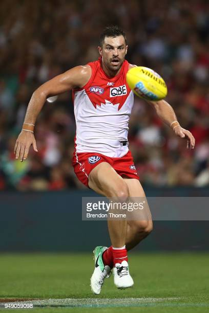 Heath Grundy of the Swans runs after a loose ball during the round five AFL match between the Sydney Swans and the Adelaide Crows at Sydney Cricket...