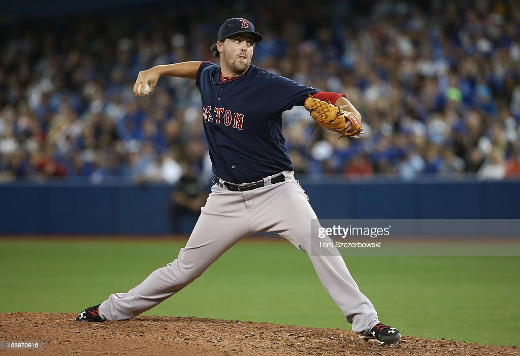 Heath Hembree #37 of the Boston Red Sox delivers a pitch in the eighth inning during MLB game action against the Toronto Blue Jays on September 18, 2015 at Rogers Centre in Toronto, Ontario, Canada.