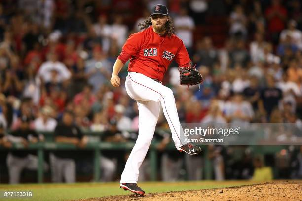 Heath Hembree of the Boston Red Sox delivers during a game against the Chicago White Sox at Fenway Park on August 4 2017 in Boston Massachusetts