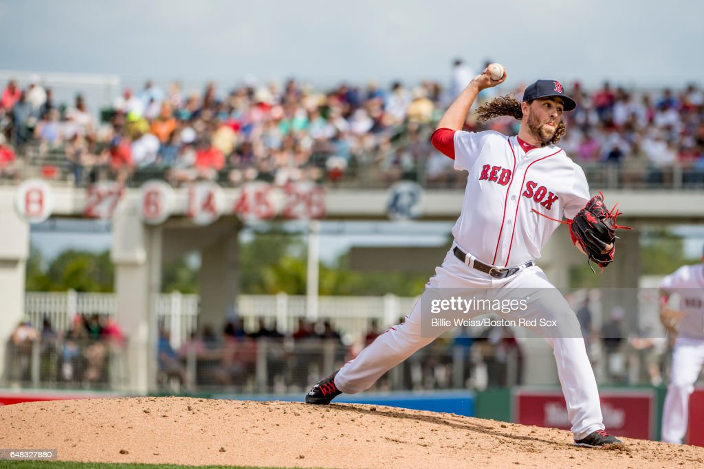 Heath Hembree #37 of the Boston Red Sox delivers during the fourth inning of a Spring Training game against the Atlanta Braves on March 5, 2017 at Fenway South in Fort Myers, Florida .
