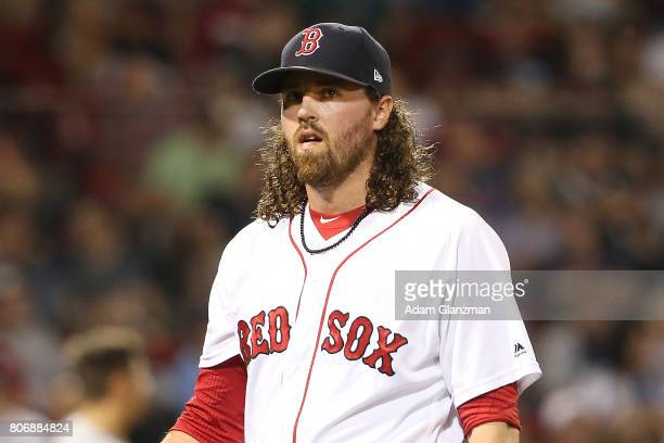 Heath Hembree of the Boston Red Sox looks on in the fifth inning of a game against the Detroit Tigers at Fenway Park on June 11 2017 in Boston...