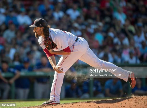 Heath Hembree of the Boston Red Sox pitches against the Kansas City Royals in the ninth inning on July 30 2017 in Boston Massachusetts