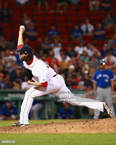 Heath Hembree of the Boston Red Sox pitches at the top of the fifteenth inning during the game against the Toronto Blue Jays at Fenway Park on...