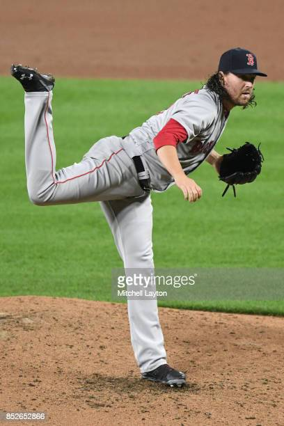 Heath Hembree of the Boston Red Sox pitches during a baseball game against the Baltimore Orioles at Oriole Park at Camden Yards on September 18 2017...