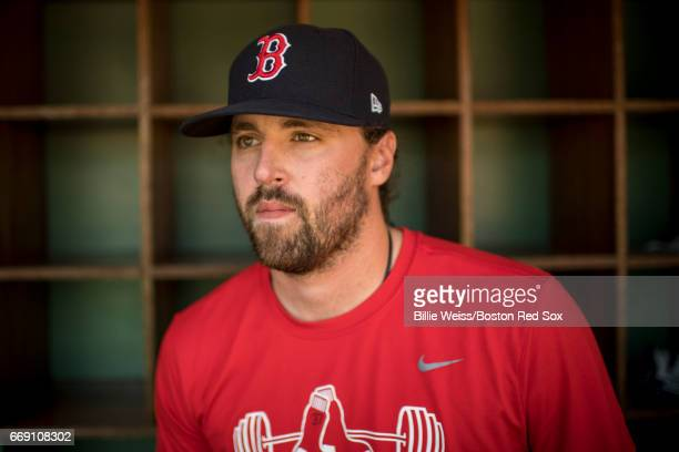 Heath Hembree of the Boston Red Sox poses for a photograph before a game against the Tampa Bay Rays on April 16 2017 at Fenway Park in Boston...
