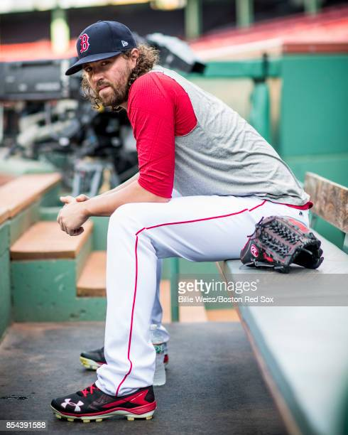 Heath Hembree of the Boston Red Sox poses for a portrait before a game against the Toronto Blue Jays on September 26 2017 at Fenway Park in Boston...