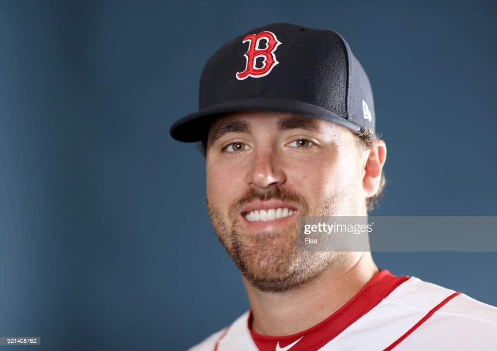 Heath Hembree #37 of the Boston Red Sox poses for a portrait during the Boston Red Sox photo day on February 20, 2018 at JetBlue Park in Ft. Myers, Florida.