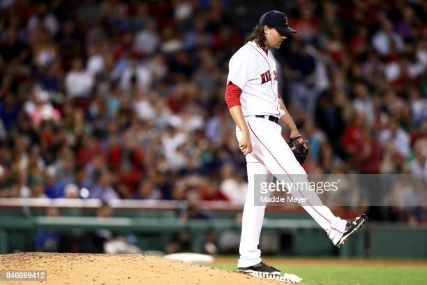 Heath Hembree of the Boston Red Sox reacts after allowing a run during the sixth inning against the Oakland Athletics at Fenway Park on September 13...
