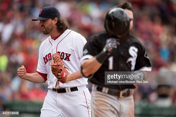 Heath Hembree of the Boston Red Sox reacts after inducing a ground ball from Adam Eaton of the Chicago White Sox to get out of a bases loaded jam Sox...
