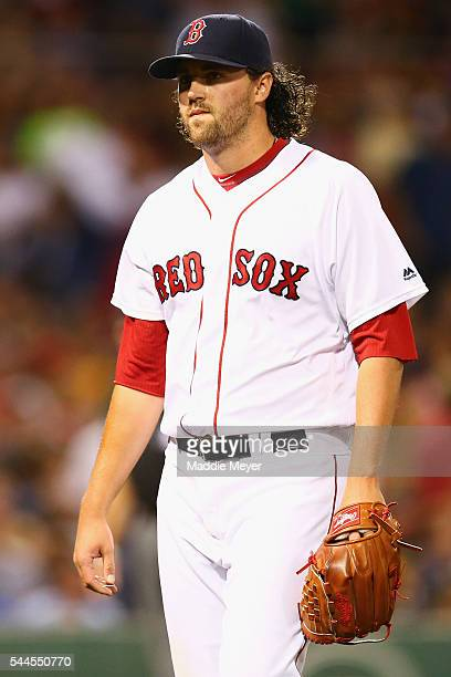 Heath Hembree of the Boston Red Sox returns to the dugout after pitching the fifth inning against the Los Angeles Angels at Fenway Park on July 2...