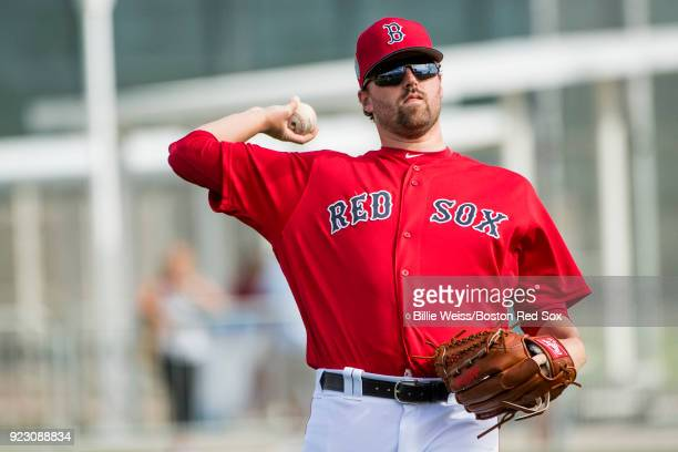 Heath Hembree of the Boston Red Sox throws during a team workout on February 22 2018 at jetBlue Park at Fenway South in Fort Myers Florida