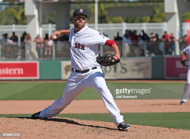 Heath Hembree of the Boston Red Sox throws the ball against the New York Yankees during a spring training game at JetBlue Park on March 3 2018 in...