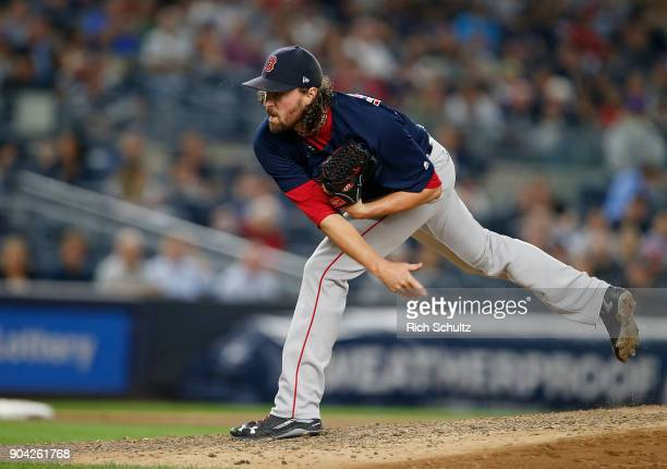 Heath Hembree of the New York Yankees in action during a game against the Boston Red Sox at Yankee Stadium on August 31 2017 in the Bronx borough of...