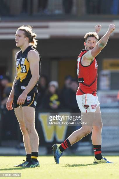 Heath Hocking of Essendon celebrates a goal during the round 13 VFL match between Werribee and Essendon at Avalon Airport Oval on June 30, 2019 in...