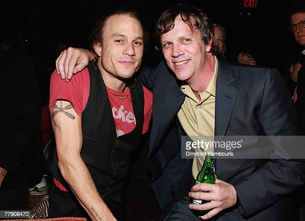 Heath Ledger and director Todd Hayes attend the after party for 'I'm Not There' New York Premiere at the Bowery Hotel on November 13 2007 in New York...