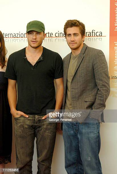Heath Ledger and Jake Gyllenhaal during 2005 Venice Film Festival Brokeback Mountain Photocall at Casino Palace in Venice Lido Italy