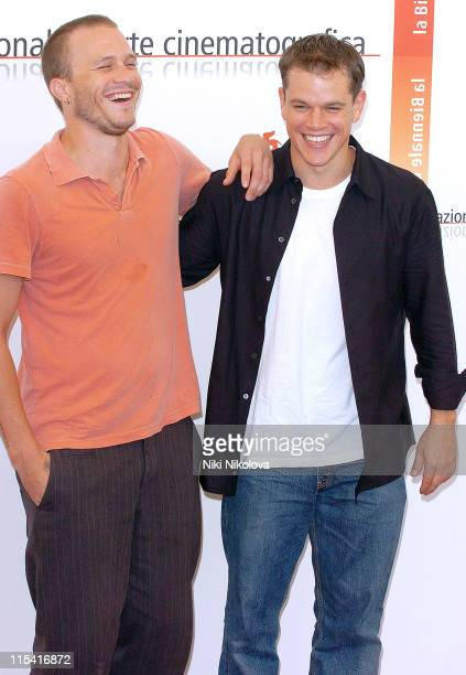 Heath Ledger and Matt Damon during 2005 Venice Film Festival 'The Brothers Grimm' Photocall at Casino Palace in Venice Italy